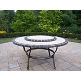 Stone Art Conversation Table with Lazy Susan