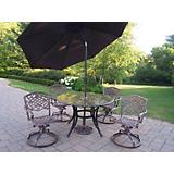 Stone Art 5pc Dining Set w/ Brown Tilting Umbrella