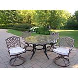 Stone Art 48In 5pc Swivel Dining Set with Cushions
