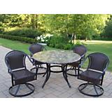 Stone Art 48Inch 5pc Tuscany Swivel Dining Set