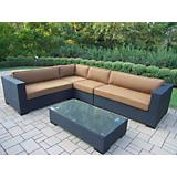 Hampton 5pc Resin Wicker Sectional with Cushions