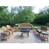 Natural Resin Wicker 8pc Set w/ Cushion n Fire Pit