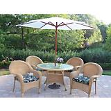 Resin Wicker 5pc Set w/ Cushion Umbrella and Stand