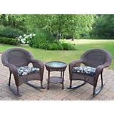 Resin Wicker 3pc Rocker Set with Cushions