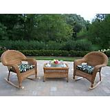 Resin Wicker 3pc Rocker and Coffee Table Set
