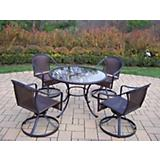 Elite Tuscany Resin Wicker 5pc Swivel Dining Set