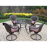 Elite Resin Wickr 5pc Swivel Dining Set w/ Cushion