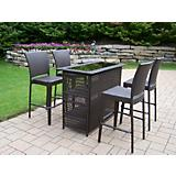 Elite Resin Wicker 5pc Bar Set