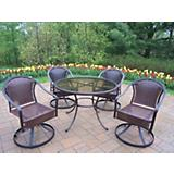 Tuscany Resin Wicker 5pc Swivel Dining Set