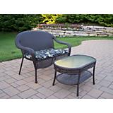 Elite Resin Wicker 2pc Loveseat n Coffee Table Set