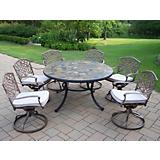 Tuscany Stone Art 7pc Swivel Chair Dining Set