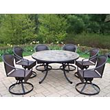 Tuscany Stone Art 54in 7pc Wicker Dining Set