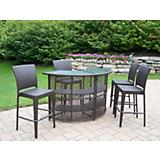 Elite Resin Wicker Half Round 5pc Bar Set