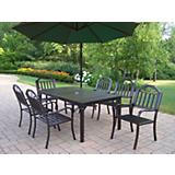 Rochester 7pc Dining Set with Offset Umbrella