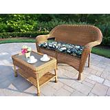 Resin Wicker Loveseat n Coffee Table w/ Cushon Nat