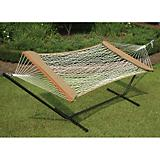 Single Cotton Rope Soft Sides Hammock W/Brn Stand