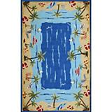 Sawgrass Mills Outdoor Vacation Coastal Blue Rug
