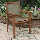 Outdoor Interiors Sling N Eucalptus Arm Chair Brwn