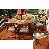 Outdoor Interiors 7Pc Oval Fold N Store Table Set