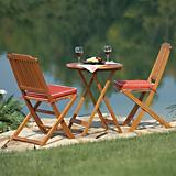 Outdoor Interiors 3Pc Round Bistro Set W/ Cushions