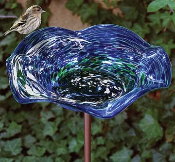 Echo Valley Illuminary Swirl Birdbath Blue