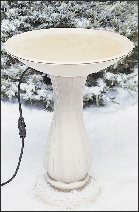 API Beige Heated Birdbath On Pedestal