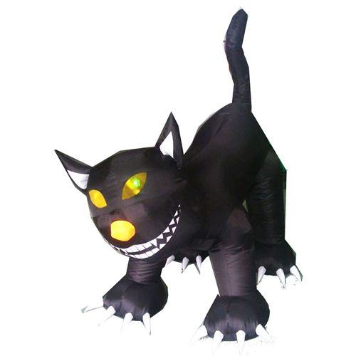 Animated Inflatable Lighted Black Cat