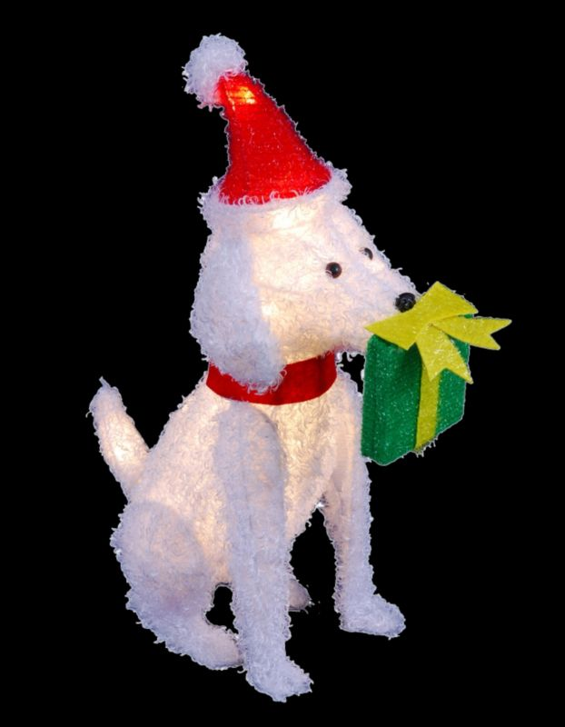 Lighted Dog With Green Present Box In Mouth