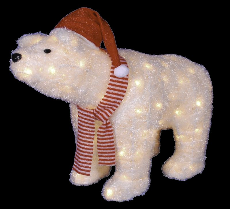 Lighted Polar Bear With Red Santa Hat And Scarf