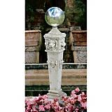 Lion Head Gazing Globe Garden Pillar Statue