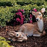 Mother Doe And Fawn Statues