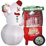 Inflatable Animated Snowman with Popcorn Machine