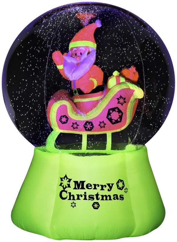 Gemmy Christmas  Santa n Sleigh Snow Globe Inflatable Blowups