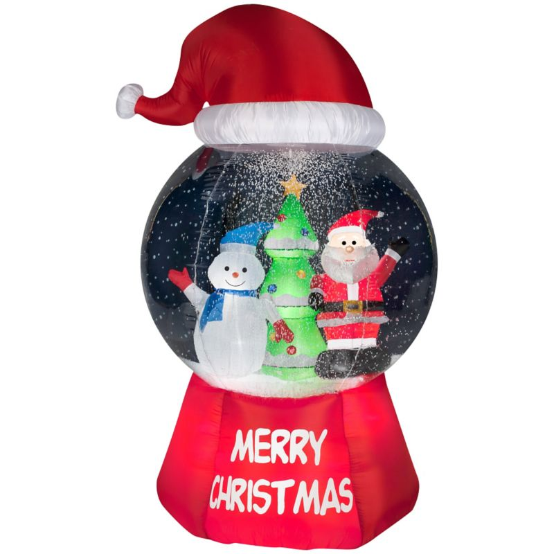 Snow Globe Santa Hat- Santa w/Snowman Inflatable Blowups