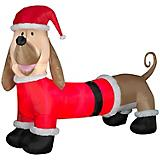 Christmas Inflatable Dachshund Dog w/ Santa Outfit