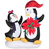 Inflatable Animated Penguin Couple w/Pointsettia