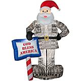 Inflatable Military Santa with God Bless Sign