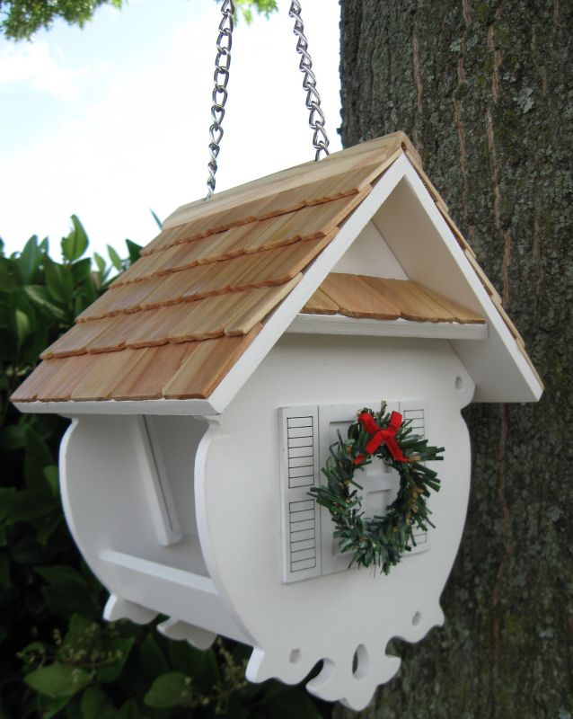Home Bazaar Christmas Wren Bird Feeder White (HOME BAZAAR INC HB-2082CWS 812673012026 Wild Bird Supplies Bird Feeders) photo