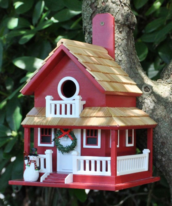 Home Bazaar Christmas Cottage Birdhouse (HOME BAZAAR INC HB-9045CRS 812673013436 Wild Bird Supplies Bird Houses) photo