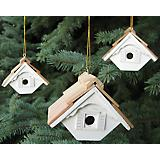 Little Wren White Birdhouse Ornament Set