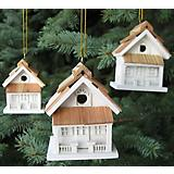 Cottage Birdhouse Ornament Set White