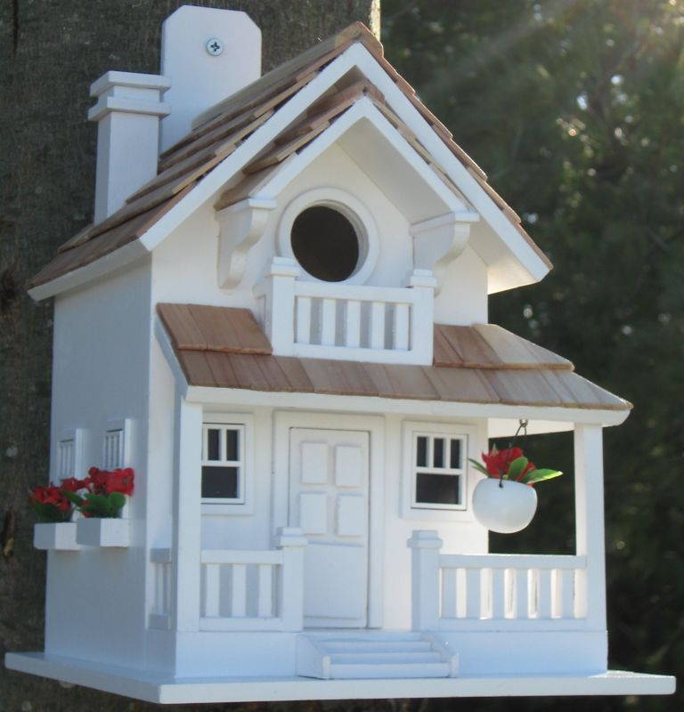 Home Bazaar Backyard Bird Cottage Birdhouse White (HOME BAZAAR INC HB-9045WS 812673011234 Wild Bird Supplies Bird Houses) photo