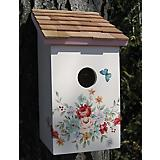 Printed Salt Box Birdhouse Pastel Bouquet