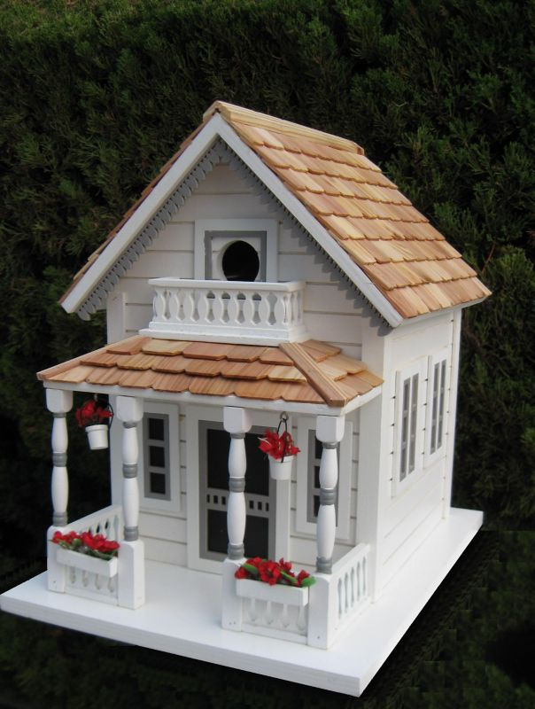 Home Bazaar Newburyport Cottage Birdhouse White (HOME BAZAAR INC HB-9031M-W 812673012217 Wild Bird Supplies Bird Houses) photo
