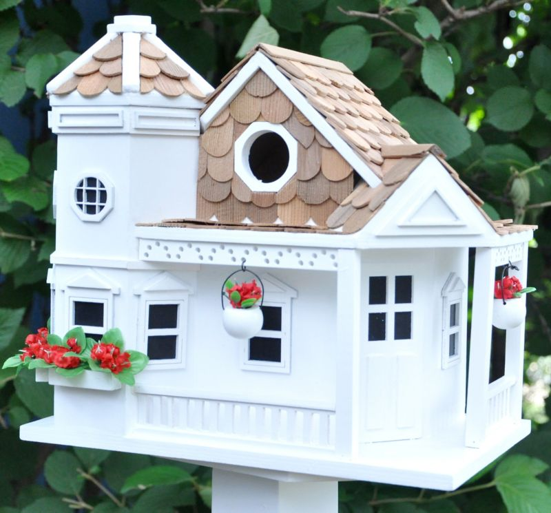 Home Bazaar Sea Cliff Cottage Birdhouse White (HOME BAZAAR INC HB-9092WS 812673013641 Wild Bird Supplies Bird Houses) photo
