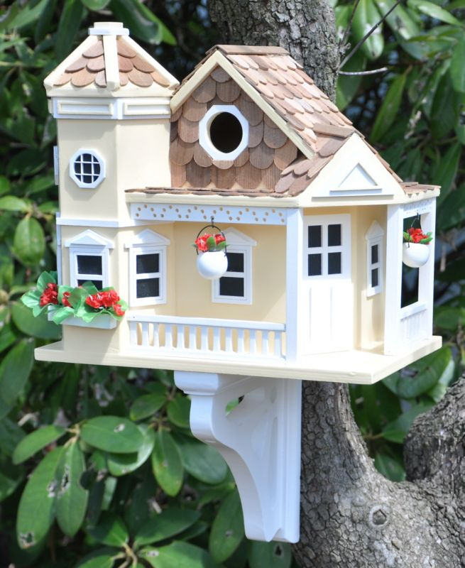 Home Bazaar Sea Cliff Cottage Birdhouse Yellow (HOME BAZAAR INC HB-9092YS 812673013252 Wild Bird Supplies Bird Houses) photo