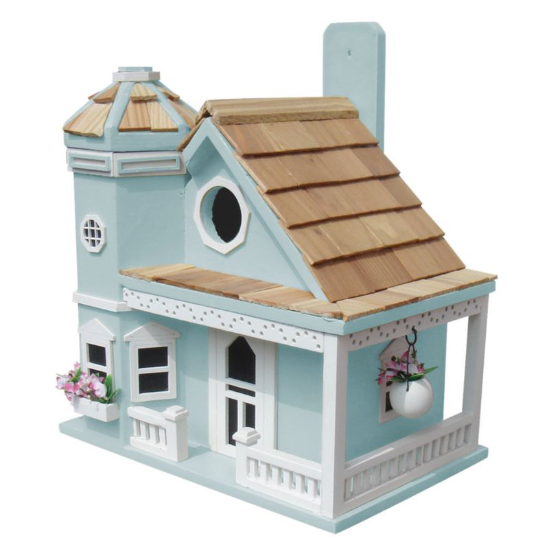Home Bazaar Flower Pot Cottage Bird House Blue (HOME BAZAAR INC HB-9095BS 812673014006 Wild Bird Supplies Bird Houses) photo