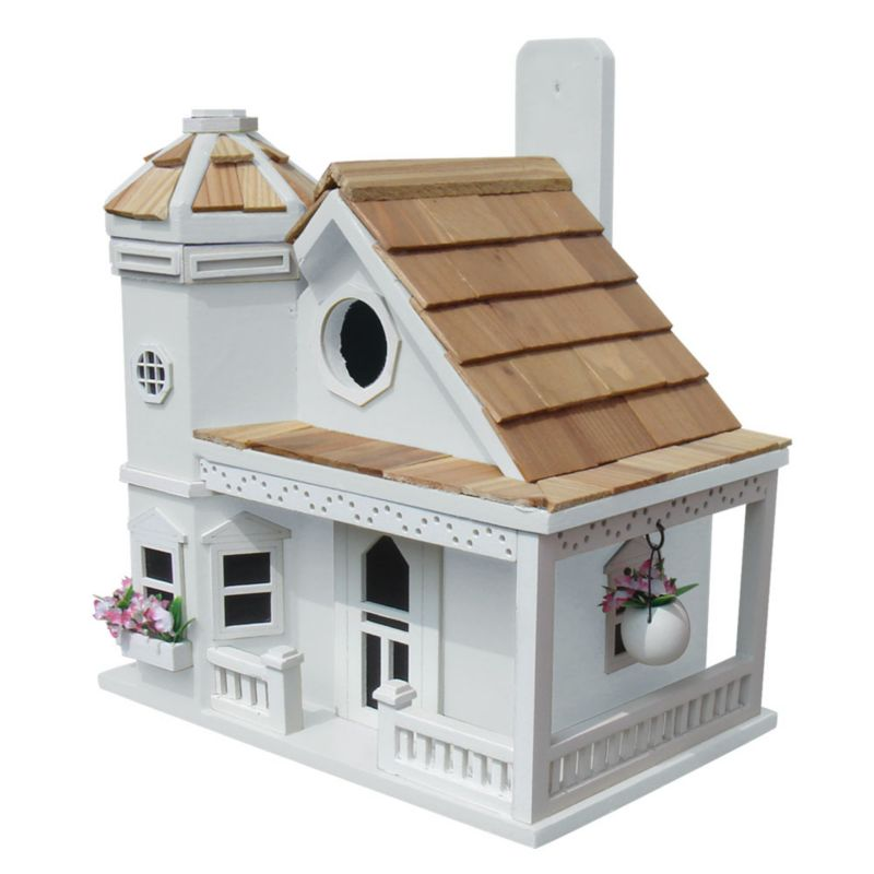 Home Bazaar Flower Pot Cottage Bird House White (HOME BAZAAR INC HB-9095WS 812673014020 Wild Bird Supplies Bird Houses) photo