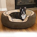 KH Mfg Round N Plush Bolster Choc Pet Bed