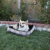 Kensington Citrus Slate Plaid Bolster Dog Bed